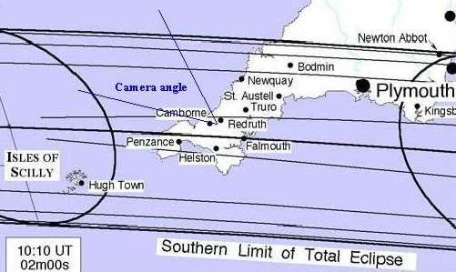 Path of the Moon's Shadow for the 1999 Solar Eclipse in Cornwall