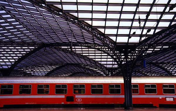 Red Train at Cologne Station, Germany