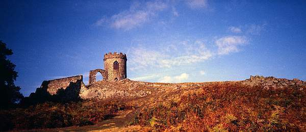 Autumn Landscape Panorama with Old John in Bradgate Park, Leicestershire